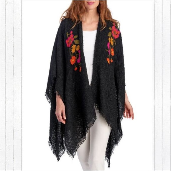 Accessory St Accessories - NWT  ACCESSORY STREET Embroidered Boucle Knit Wrap